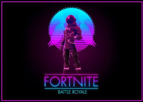 GAMES - FORTNITE - GLOW ART LANDSCAPE canvas print - self adhesive poster - photo print